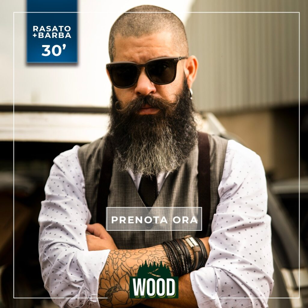 wood rasato con barba